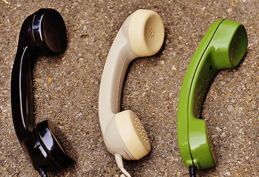 Three telephones